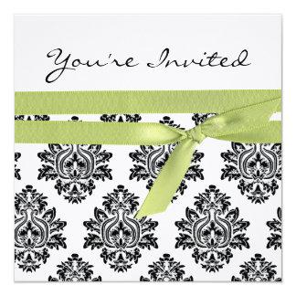 Weiße u. grüne Leinendamast-Babyparty laden ein Quadratische 13,3 Cm Einladungskarte