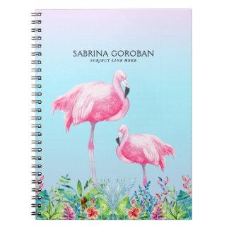 Weiße u. rosa Flamingos mit tropischen Blumen Notizblock