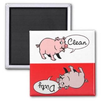 Weiße u. rote Schweine Quadratischer Magnet