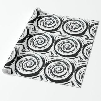 Weiße u. schwarze hypnotische Strudel-Kunst Geschenkpapier