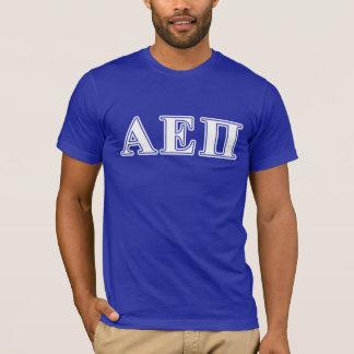 Weiße und blaue Buchstaben Alphaepsilon-PUs T-Shirt