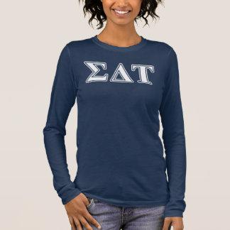 Weiße und blaue Buchstaben Sigma-DeltaTau Langarm T-Shirt