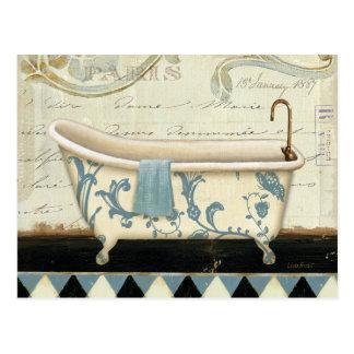 Weiße und blaue Vintage Bad-Wanne Postkarte