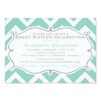 Weiße und blaue Zickzack 16. Geburtstag-Einladung 12,7 X 17,8 Cm Einladungskarte