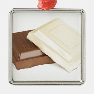 Weiße und braune Schokolade Silbernes Ornament
