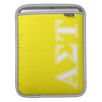 Weiße und gelbe Buchstaben AlphasigmaTau iPad Sleeve