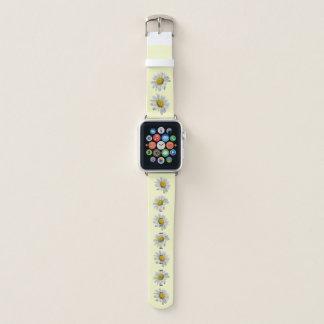 Weiße und gelbe Gänseblümchen-Blumen Apple Watch Armband