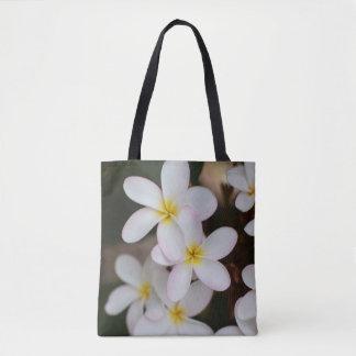 Weiße und gelbe Plumeria-Tasche Tasche