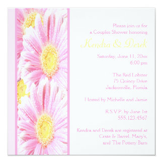 Weiße und rosa Gerberas-Paar-Duschen-Einladung Quadratische 13,3 Cm Einladungskarte