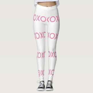 Weiße und rosa xo Gamaschen Leggings