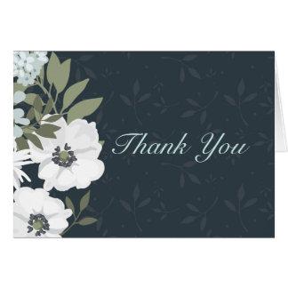 Weiße und schwarze BlumenKranz-Hochzeit danken Karte