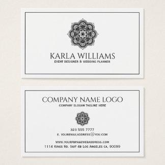 Weiße und schwarze BlumenMandala Visitenkarten