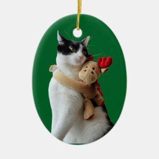Weiße und schwarze Katzen-u. Keramik Ornament