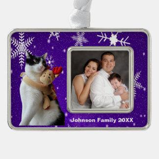 Weiße und schwarze Katzen-u. Rahmen-Ornament Silber