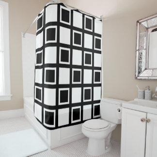 Weiße und schwarze Quadrate Duschvorhang