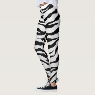 Weiße und schwarze Tiertiger-Streifen Leggings