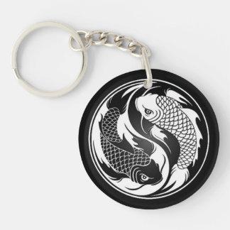 Weiße und schwarze Yin Yang Koi Fische Schlüsselring