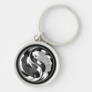 Weiße und schwarze Yin Yang Koi Fische Schlüsselanhänger