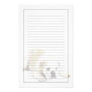 Weiße und tan Bulldogge Briefpapier