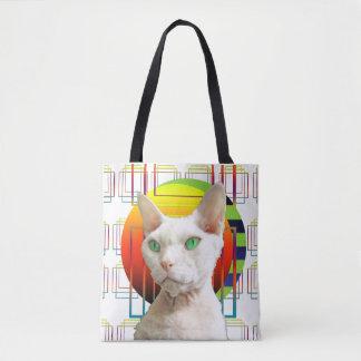 Weiße verrückte Katze Katzen-Entwurf Sphynx Tasche