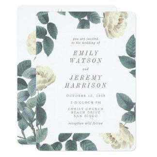 Weiße Vintage Blumen-Rahmen-Hochzeits-Einladung Karte