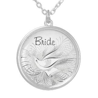 Weiße Vintage inspirierte Vogel-Braut Versilberte Kette