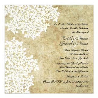 Weiße Vintage quadratische Hochzeits-mit Individuelle Einladung