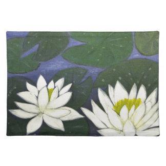 Weiße Wasserlilie-Blumen, Acrylmalerei Stofftischset