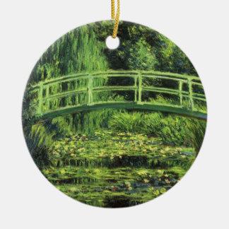 Weiße Wasserlilien durch Claude Monet, Vintage Keramik Ornament