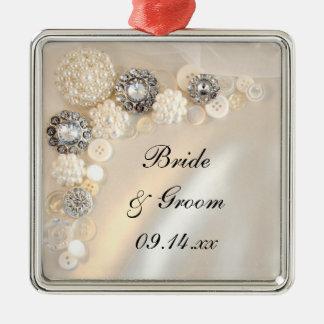 Weiße Wedding Perlen-und Diamant-Knöpfe Silbernes Ornament