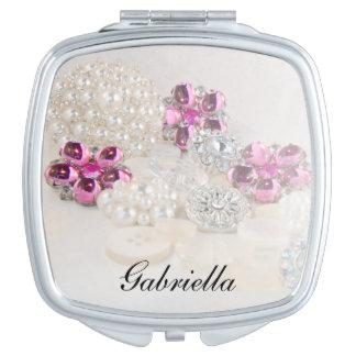Weiße Wedding Perlen und rosa Diamant-Knöpfe Taschenspiegel
