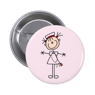 Weiße weibliche Geschenke der Strichmännchen-Krank Runder Button 5,7 Cm