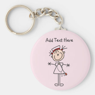 Weiße weibliche Geschenke der Strichmännchen-Krank Standard Runder Schlüsselanhänger