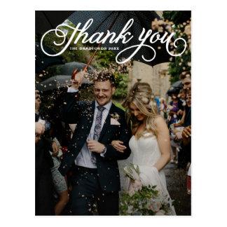 Weiße weibliche Skript-Foto-Hochzeit danken Ihnen Postkarte