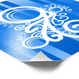 Weiße Wirbels-Kunst Nouveau und blaue Fotografische Drucke