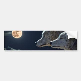 Weiße Wölfe im Vollmond Autoaufkleber
