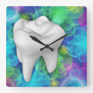 Weiße Zahn-Blumen-Entwurfs-Zahnarzt-Wand-Uhr Wanduhr