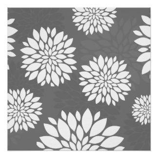 Weiße zeitgenössische Blumen Perfektes Poster