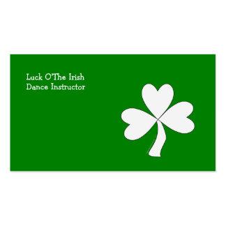 Weißen Kleeblatt-St Patrick Tagesiren-viel Glück Visitenkarten