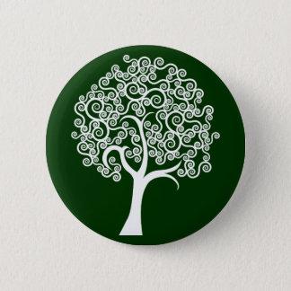 Weißer abstrakter Baum Runder Button 5,1 Cm