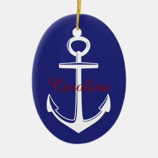Weißer Anker auf blauem nautischpersonalisiertem Keramik Ornament