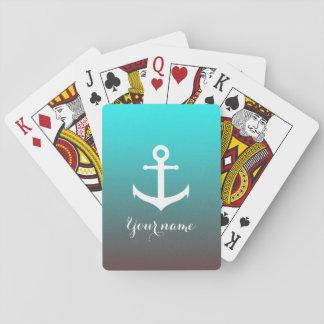 Weißer Anker des Steigungsaqua-Rotes | Spielkarten
