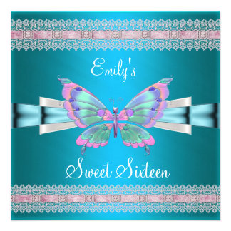 Weißer aquamariner blauer rosa Schmetterling 16 Einladungen