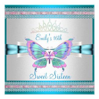 Weißer aquamariner blauer rosa Schmetterling des Individuelle Einladungskarte