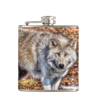 Weißer arktischer Wolf - Tier-Liebhaber Kunst Flachmann