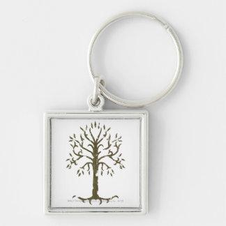 Weißer Baum von Gondor Silberfarbener Quadratischer Schlüsselanhänger