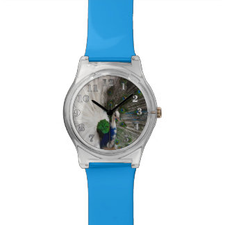 Weißer blauer Pfau Armbanduhr