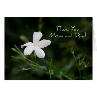 Weißer Blumen-Eltern-Hochzeits-Tag danken Ihnen zu Grußkarte