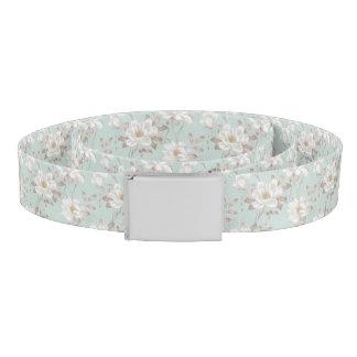 Weißer Blumen-Muster-Gurt Gürtel