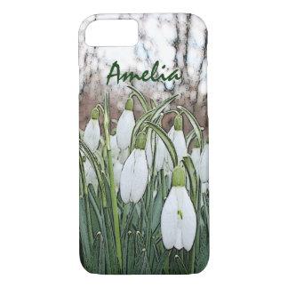 Weißer Blumendruck, Frühling snowdrops iPhone 7 Hülle